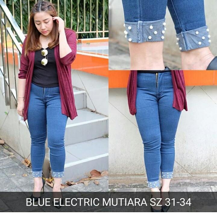 Blue electric Mutiara Promo TERMURAH!! Celana panjang jeans skinny Jumbo Bigsize wanita Brave Jeans