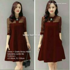Dress Korea Warna Marun   Dress Pesta Gratis Bross   Dress Korea   Dress  Wanita   eeca998531