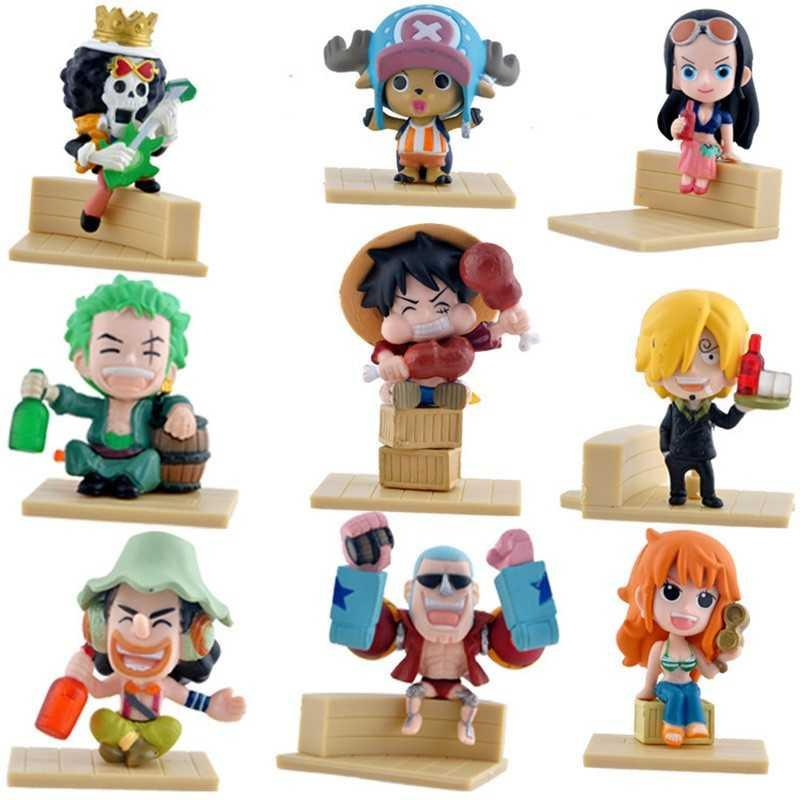 Action Figure One Piece 9 PCS Karakter Mainan Model 59 Pajangan Hobby Hadiah Kado Ulang Tahun Birthday Gift Hobi Koleksi 5-7cm Monkey D. Luffy Kartun Cartoon Anime Kids Toys Soft PVC Material Cute Design Mini s6514 - Multicolor