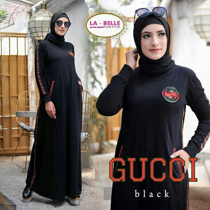 Dress Baju Original BC GUCCI Bahan Babyterry Sablon Pakaian Wanita Muslimah Grosir Gamis Hijab Panjang Termurah Trand Terbaru Fashionable 2018