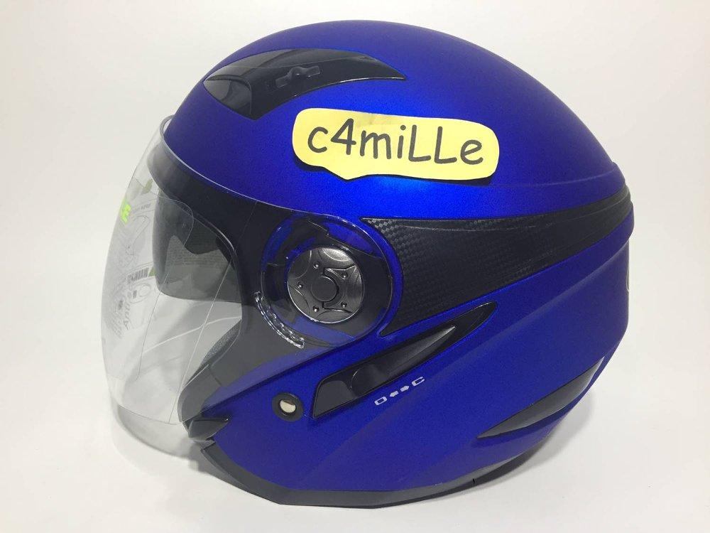 HELM MDS ZARRA FLAT BLUE DOUBLE VISOR HALF FACE