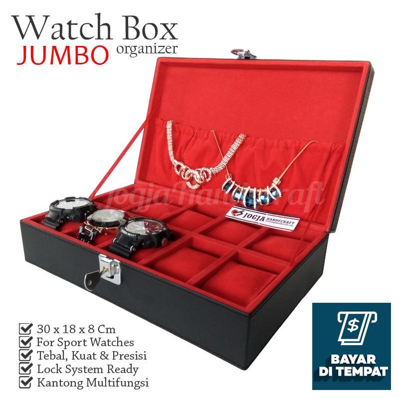 Jogja Craft - Large Size Watch Box With Lock For Sport Watches - Kotak Tempat Jam Tangan Isi 10 Besar
