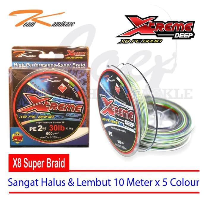 Obral Murah TK Xtreme Deep PE#2 - 30LB 600Yard X8 Braided Multicolour Senar PE Harga Grosir