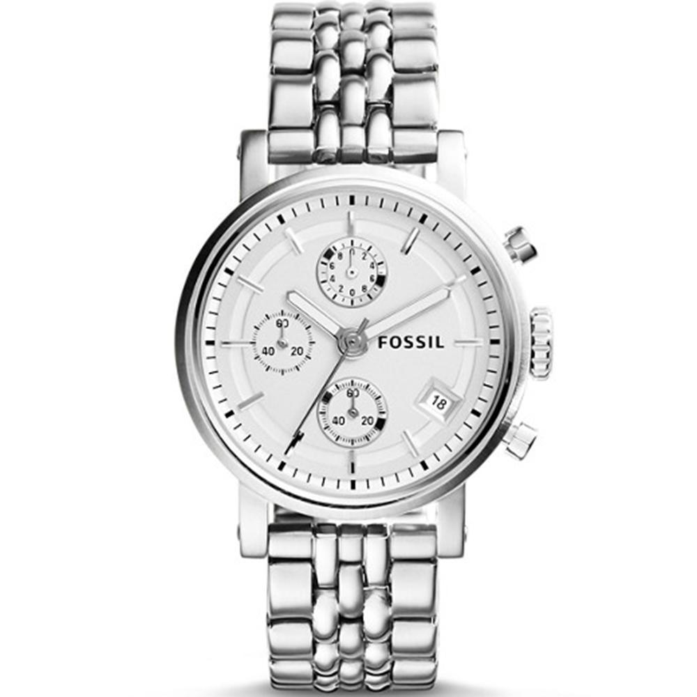 Fossil Boyfriend Chronograph - Jam Tangan Wanita - Silver - Stainless Steel - ES2198