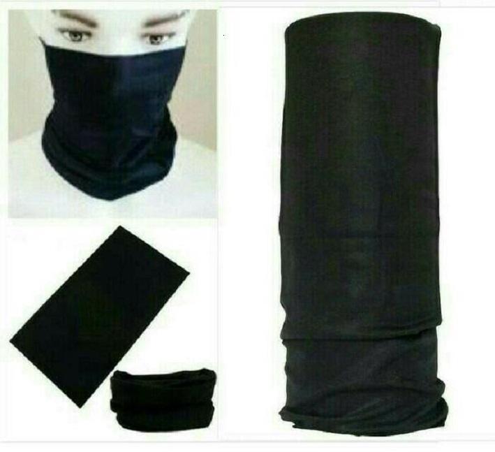 Buff bandana masker serbaguna elastis Tanpa sambungan Seamless Hitam polos
