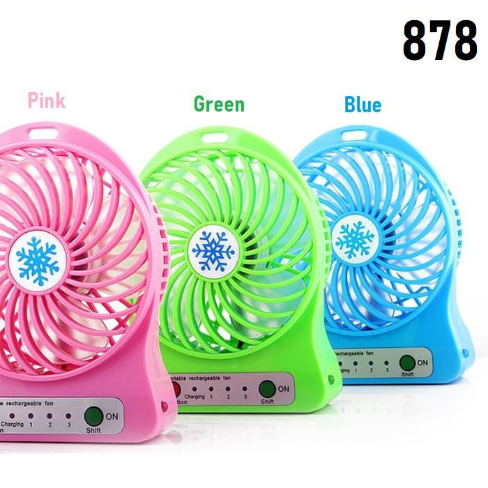 Unik 878 - Portable Mini Fan Rechargeable Kipas Angin Pendingin Recharge Cas Kecil - Random