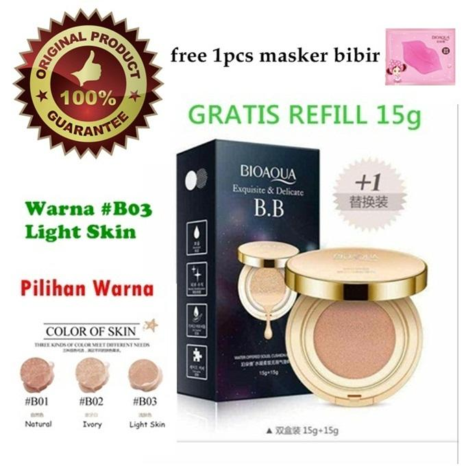 Bioaqua Exquisite and Delicate BB Cream Air Cushion Pack Gold Case SPF 50++ Foundation BB Gold + Refill + Free Masker Bibir