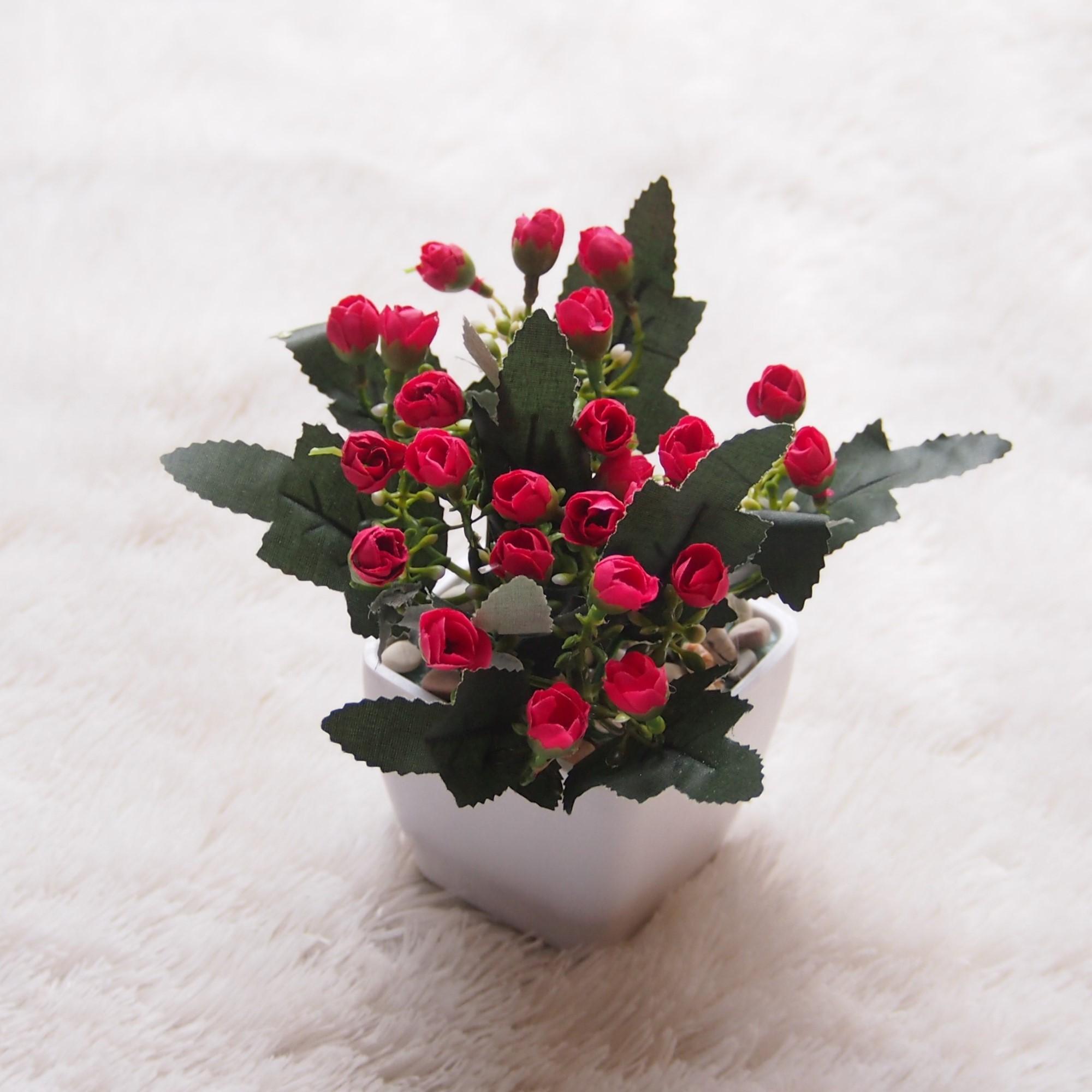 Bunga Artificial Dekorasi Meja Dan Ruangan - Bunga Artificial Mini Kacang  Vas Kotak RM02 c6107ce9af