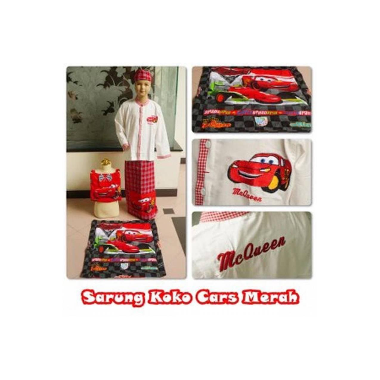 SPESIAL Koko Sarung Peci Sajadah Tas Karakter Cars Merah Mc Queen