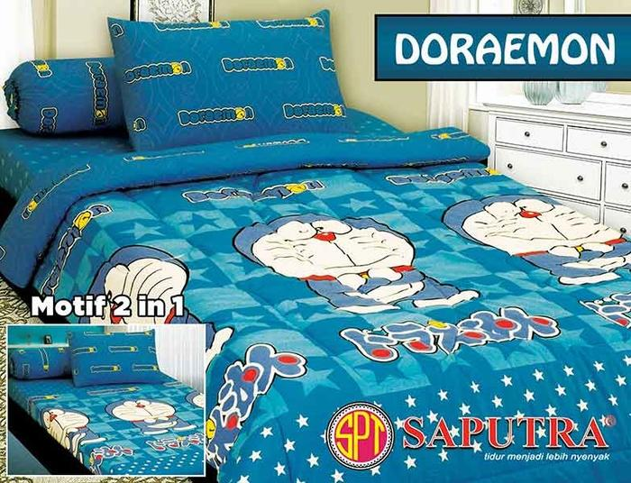 Sprei Saputra Anak Doraemon Cartoon ranjang Single 120x200 - bnyFkf