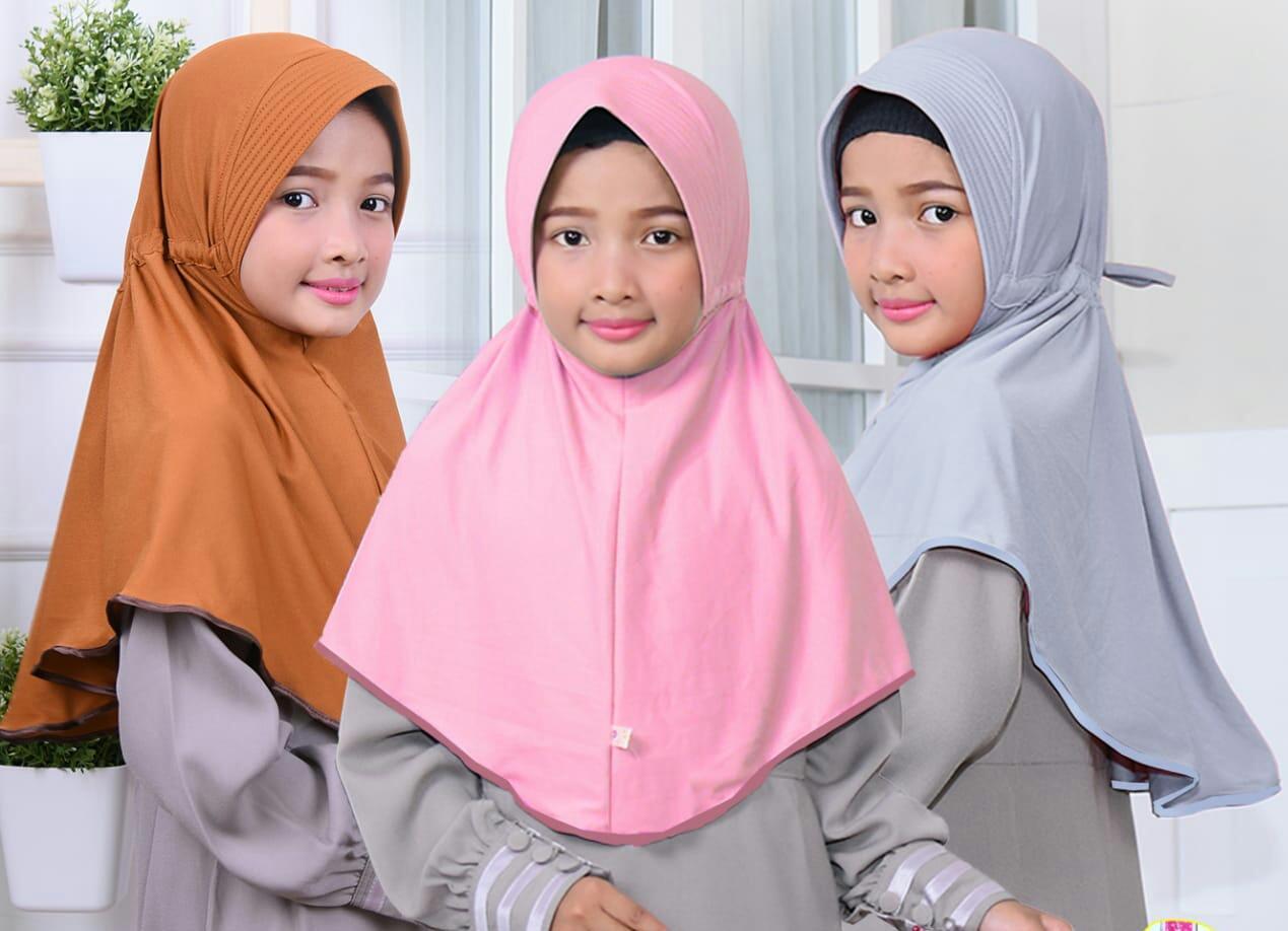 Kerudung Jilbab Anak Murah stik pita pinggir/ Dedek Jaya