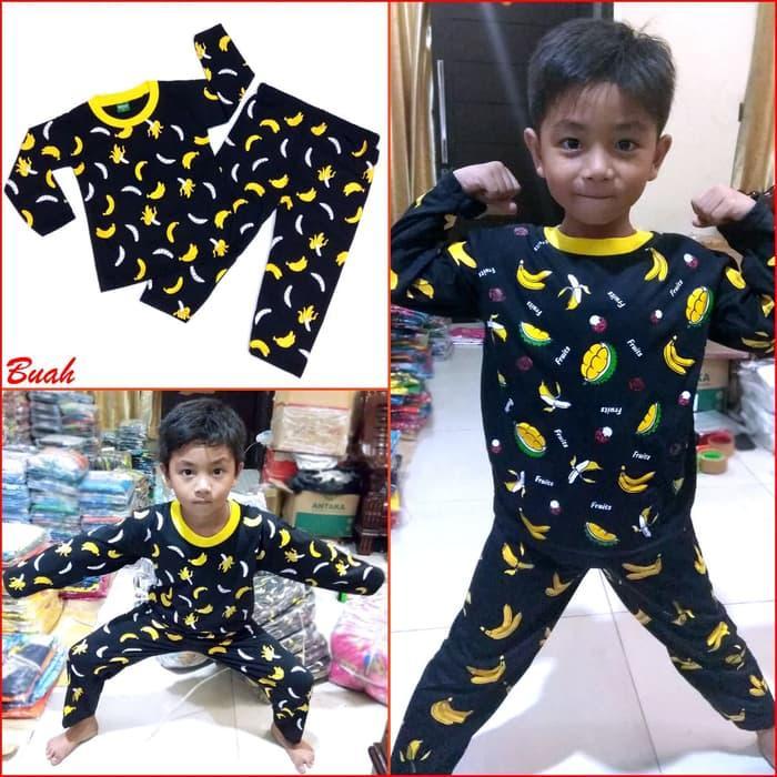 Baju Tidur Anak BUAH Manis Piyama Anak Bayi Laki Perempuan Lucu MARUNO - 6-18bulan, Perak