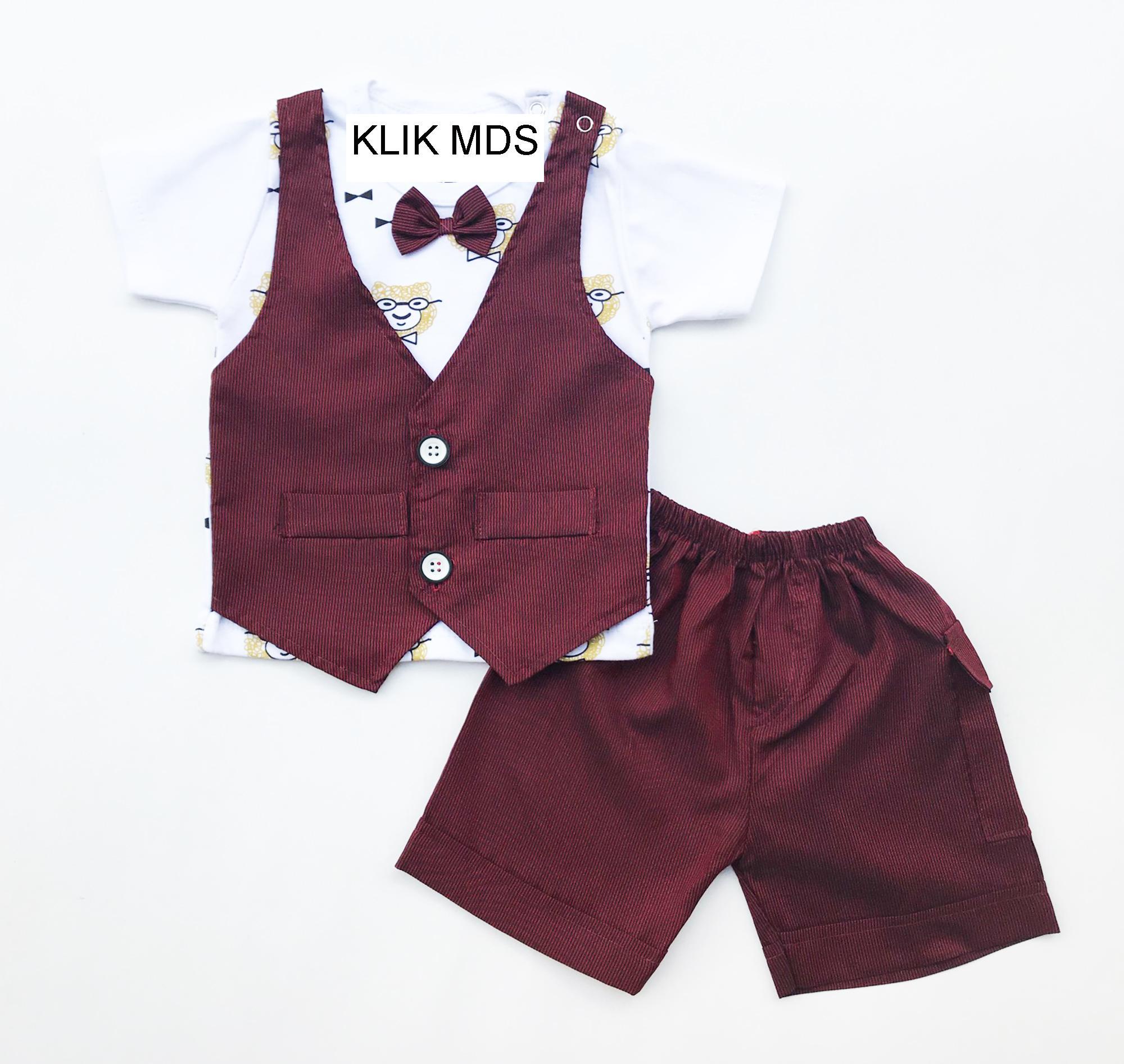 Klik Mds Baju Setelan Anak Bayi Lelaki Motif Beruang Rompi Salur dan Celana Motif Salur Dengan Dasi Kupu-Kupu
