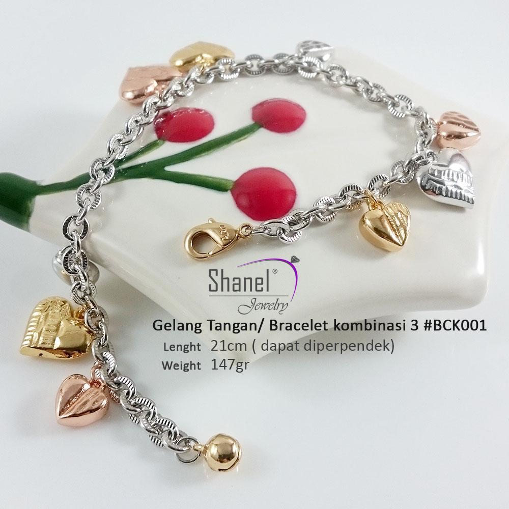 shanel jewelry gelang tangan wanita dewasa remaja kombinasi love emas dan silver xuping lapis emas 18k perhiasan mewah jual kalung liontin cincin bangle bracelet neclace ring bisa di padukan dengan pakaian pesta yang elegant