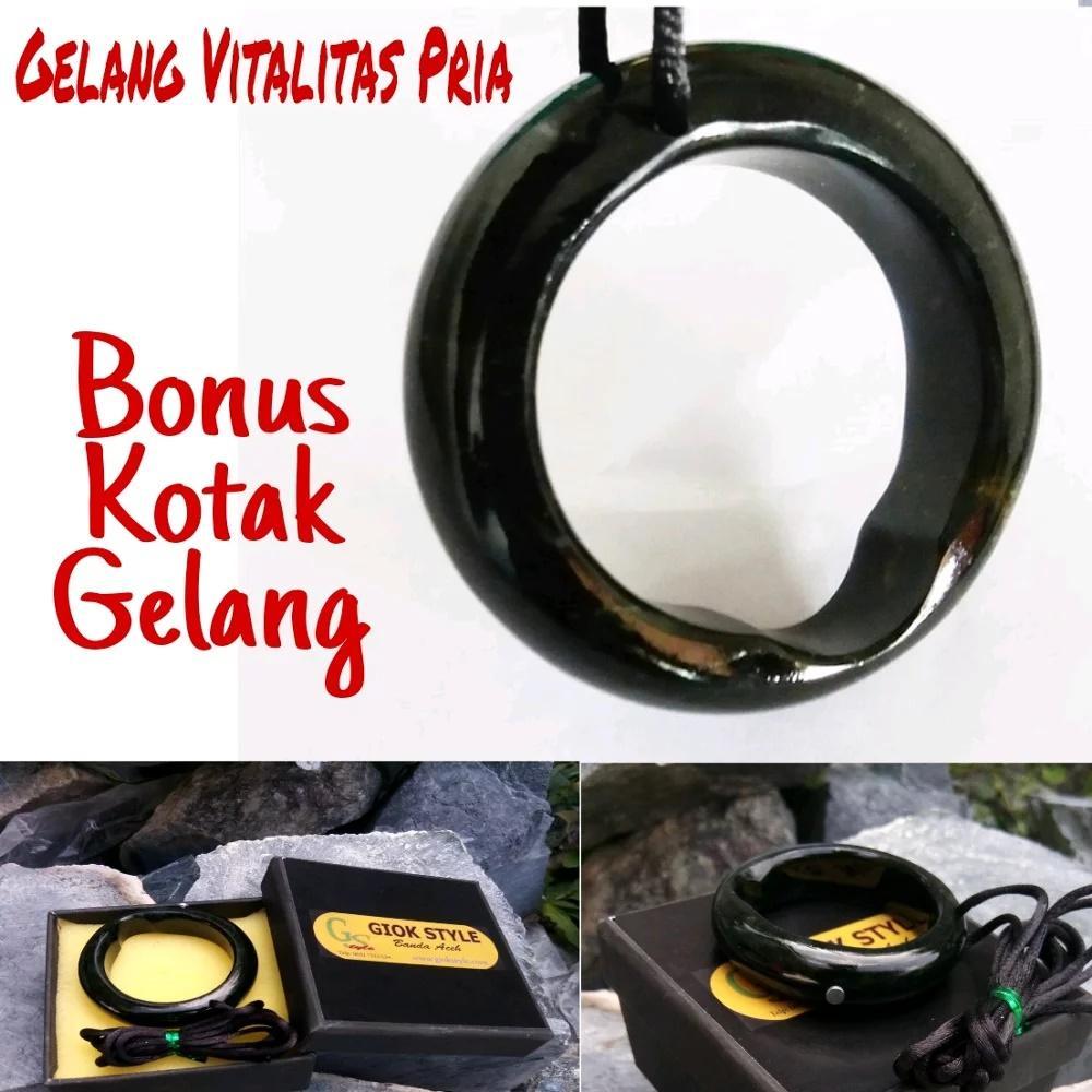 Gelang Cincin Vital Pria, Bahan Giok Black Jade Aceh Terapi By G Style.
