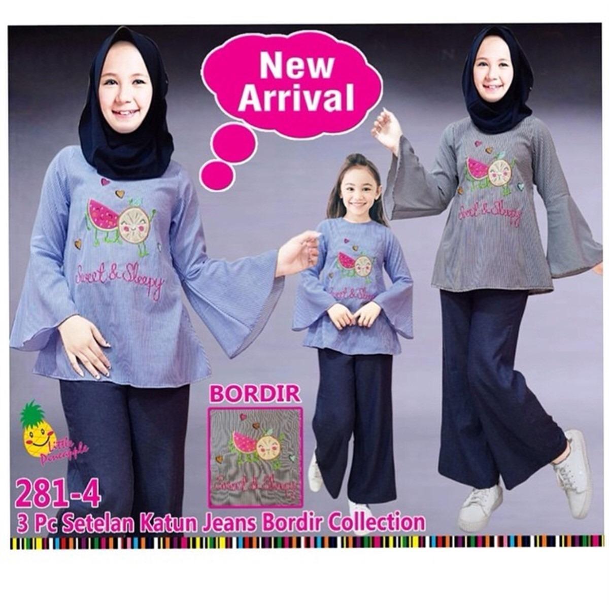 Little Pineapple Setelan tunik hijab kulot semangka anak 6-11Y