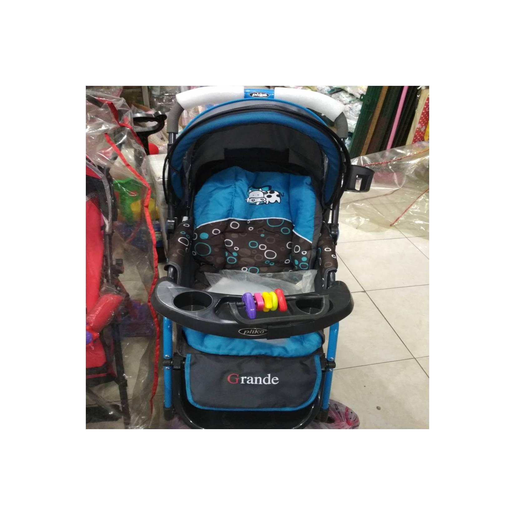 stroller bayi pliko grande / roda 4 warna biru