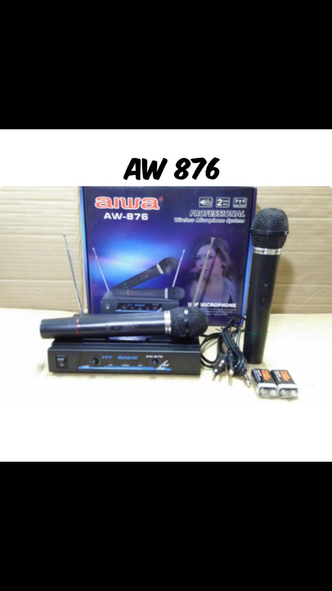AIWA 867 Mic ORI wireless profesional uhf mik sepasang karaoke audio suara musik vokal artis EUT  1bh receiever 2bh mic pegang 1bh kabel audio output jarak bisa pakai sampe 20- 40METERAN suara bagus, jernih dan empuk cocok buat karaoke, MC, pidato
