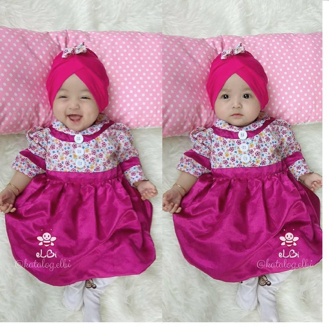 eLBi - Baju Pesta Anak Bayi / Gamis Anak / Baju Muslim Anak / Baju Muslim Bayi Perempuan / Baju Pesta Anak Muslim / Blooming Dress Pink