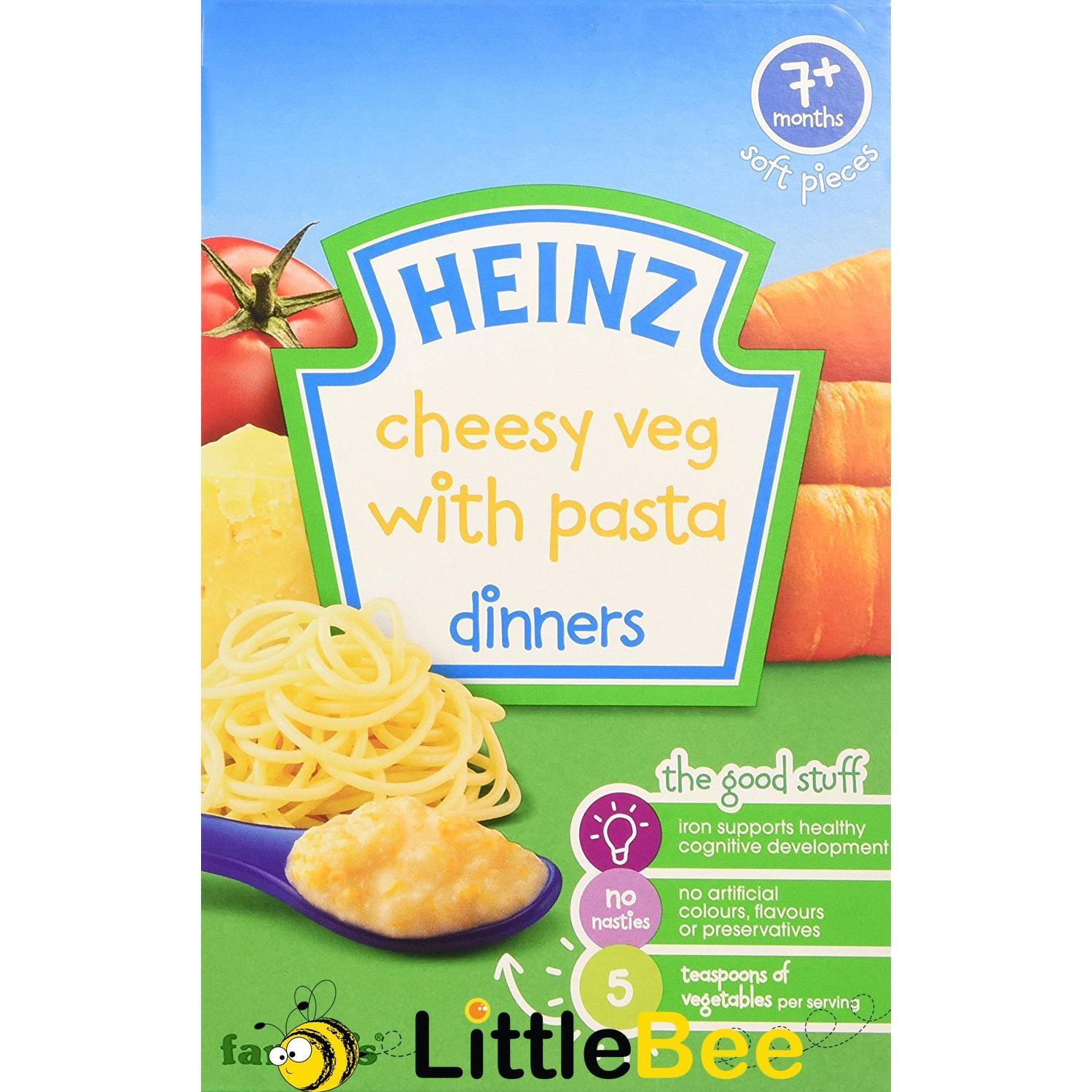 Makanan Cereal Pendamping Bayi Rasa keju pasta Heinz Cheesy Veg with Pasta Dinners - 120 gr
