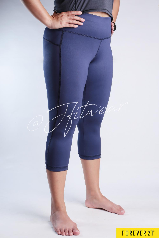 Celana Senam FOREVER 21 Capri - Solid NavyBlue - Baju Olahraga Yoga Gym Fitness Zumba Aerobic