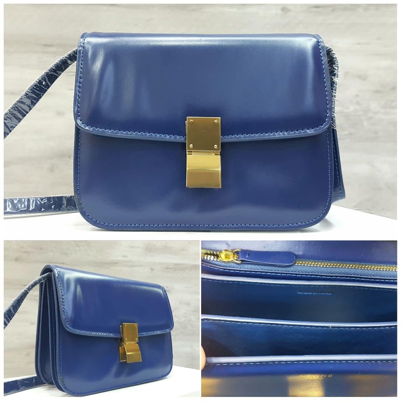 CELINE Box Bag Mirror Quality Tas Hand Bag Wanita NAVY BLUE