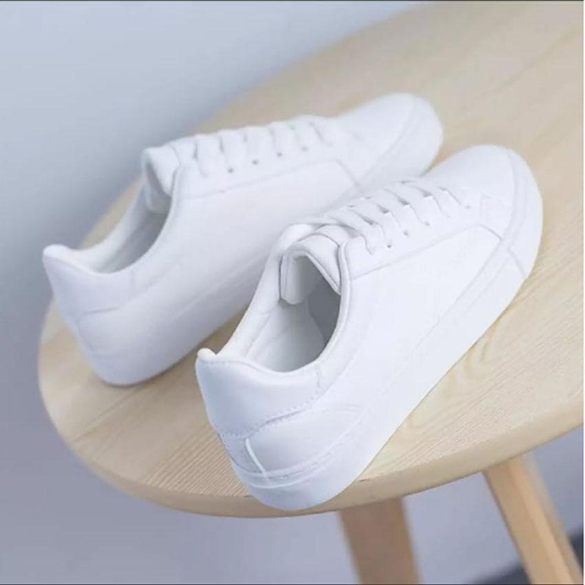 MH18 Sepatu Kets Sneaker Putih   Hitam Polos - Sepatu Wanita Pria Putih  -Casual 8e6b52d86b