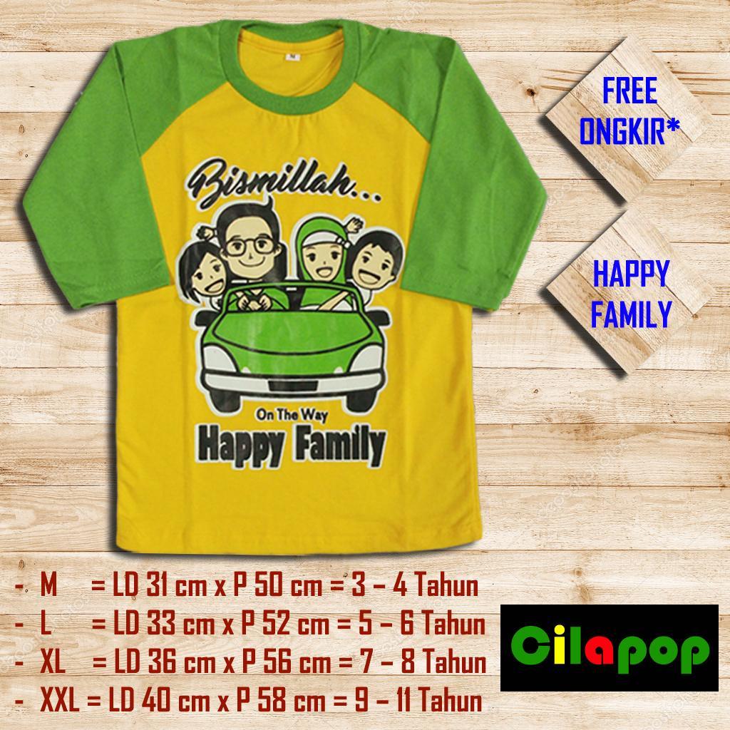 Baju pakaian kaos anak muslim muslimah / kaos anak laki laki / kaos anak perempuan / kaos karakter / kaos kartun lucu / happy family keluarga