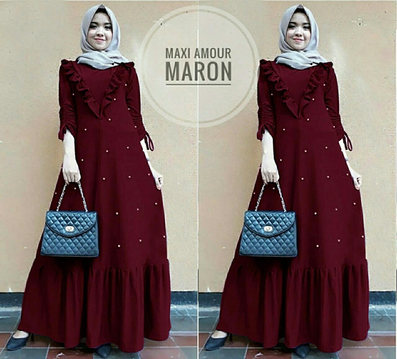 Honeyclothing Dress Cewek Amor / Longdress Wanita / Gamis Muslimah / Dress Hijaber / Maxi Dress / Dress Jaman Now