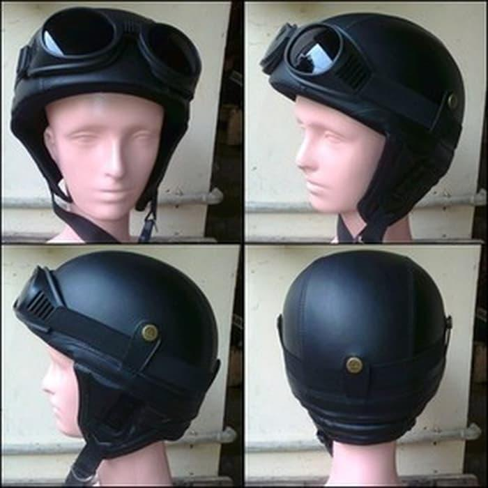 Helm Retro Vespa Clasic Model Kupingan Hitam || helm kyt / helm bogo / helm full face / helm ink /