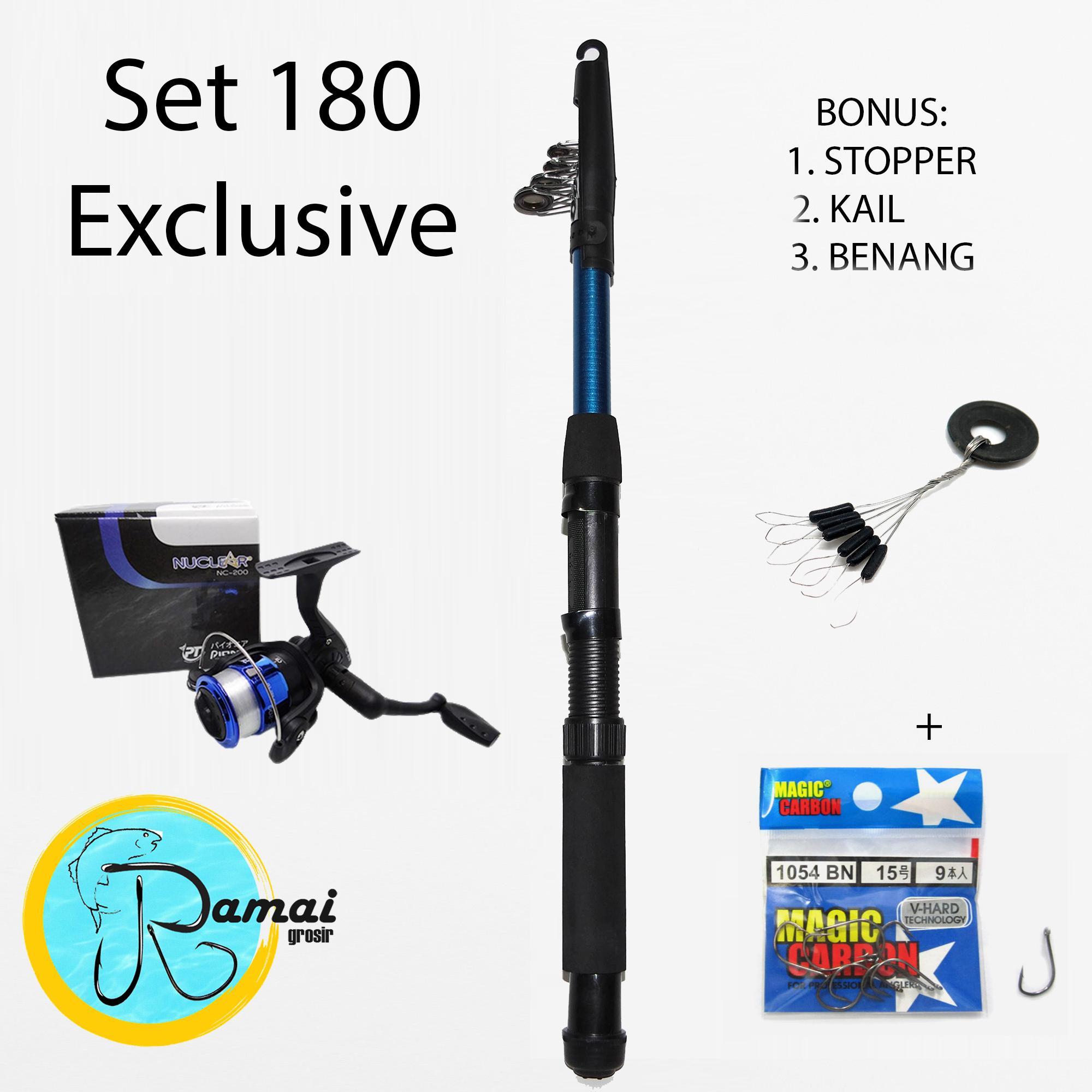 Set Joran Antena Fiber 180 + Reel Audrey 200 BONUS BANYAK