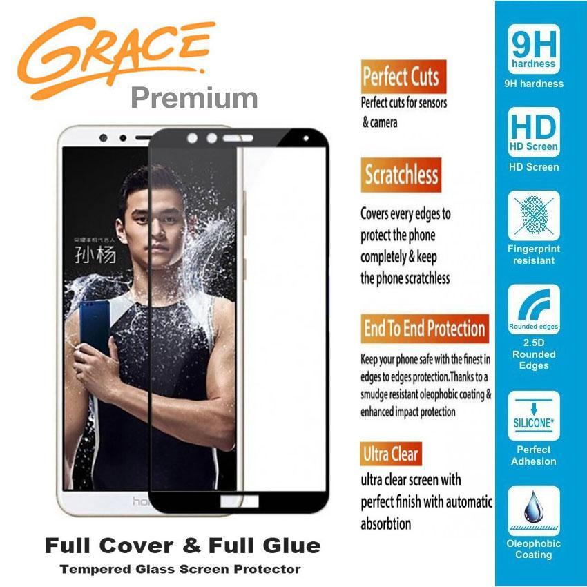 Grace Premium Huawei Honor 7X - 5.93 inch Tempered glass Full Screen - Full Glue - Lis Hitam