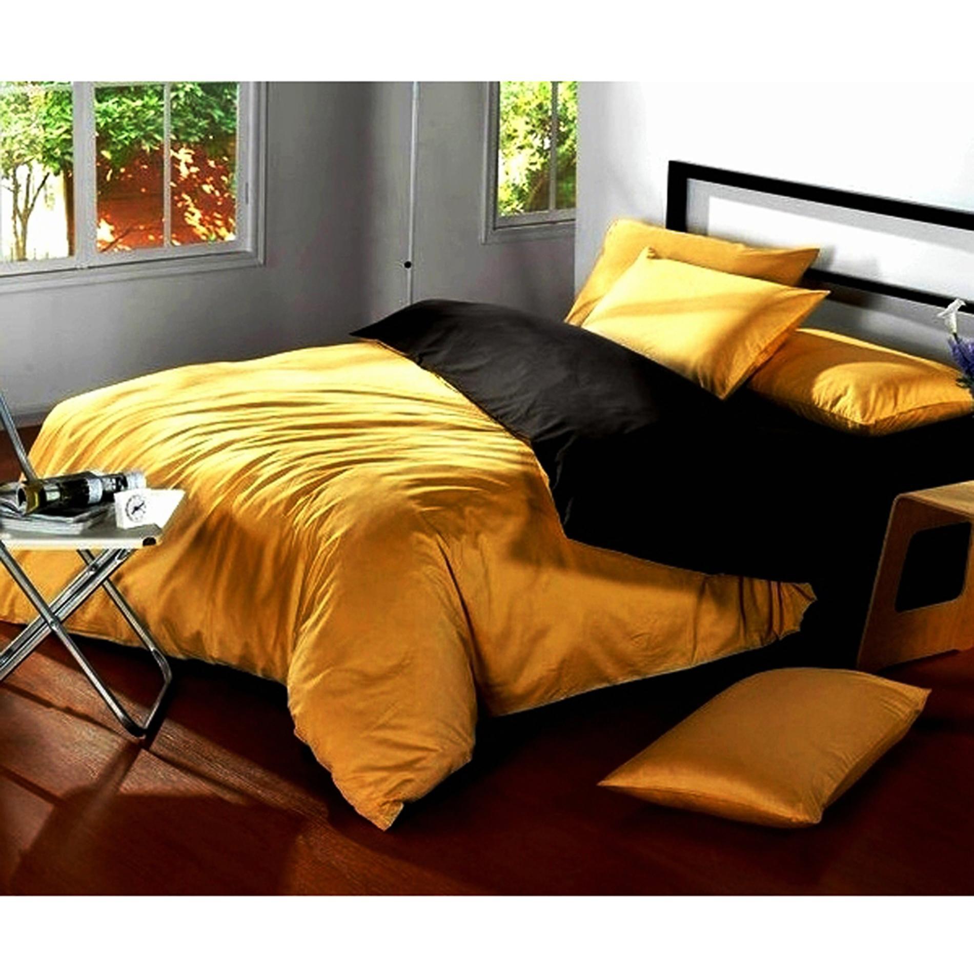 Ellenov Honey Black Sprei With Bed Cover Katun