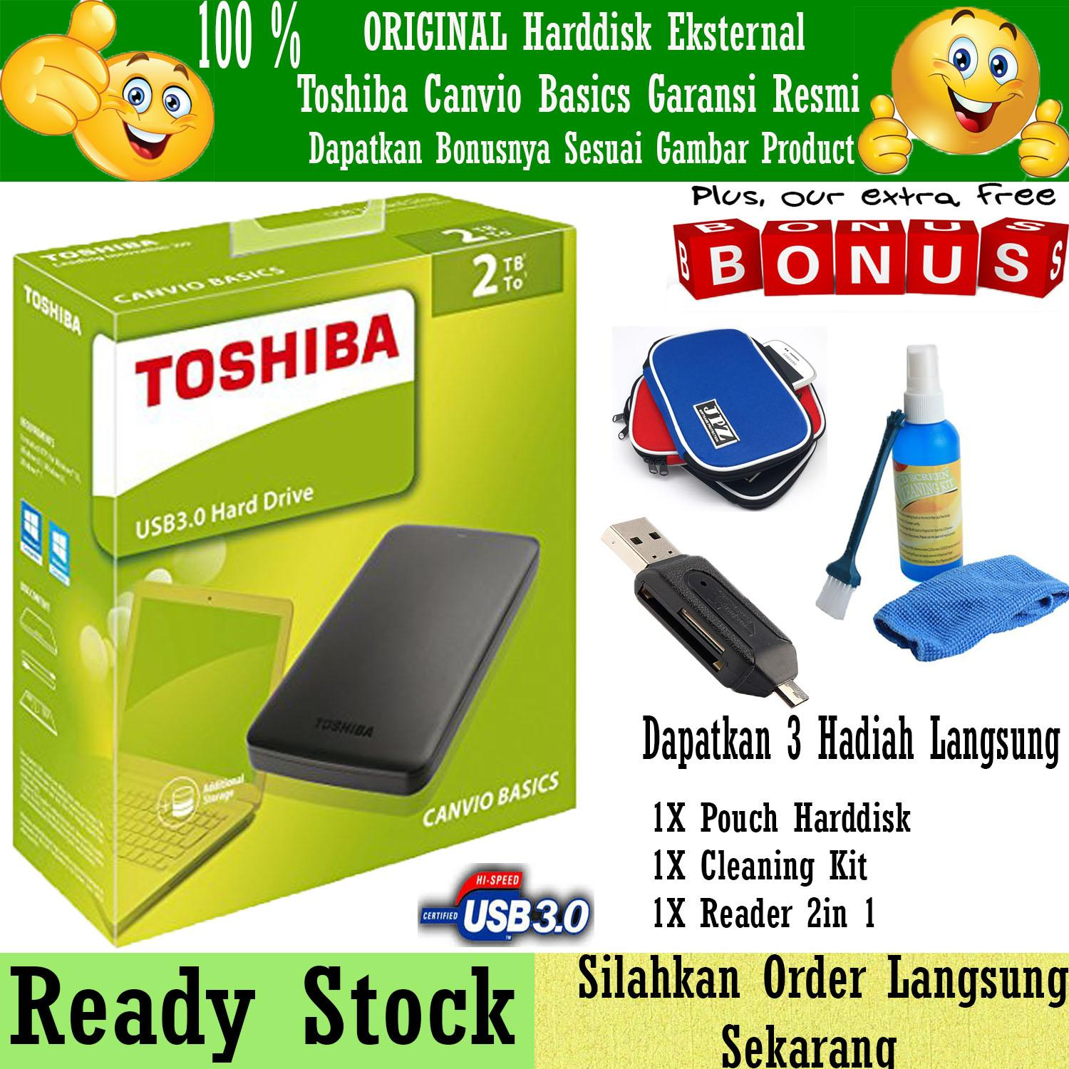 Toshiba Canvio Basic 2TB - HDD / HD / Hardisk Eksternal - Hitam + Gratis Pouch Harddisk + Cleaning Kit ( Pembersih PC & Notebook ) + Reader 2in 1