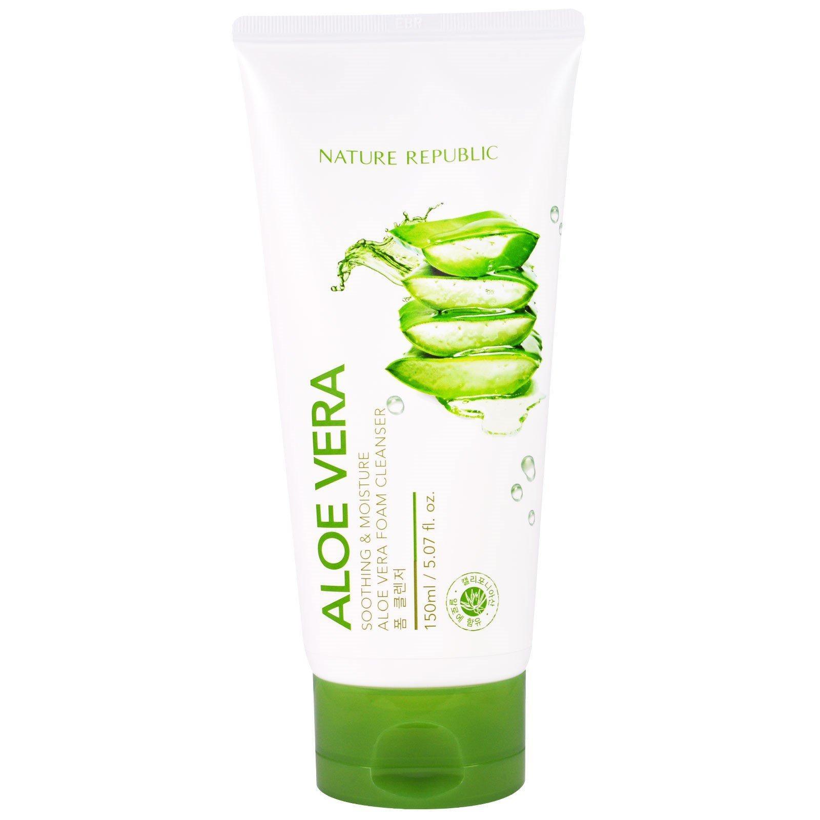 Nature Republic Aloe Vera Soothing & Moisture Foam Cleanser Sabun Pembersih Wajah Aloe Vera Sabun Cuci Muka Aloe Vera - 150ml