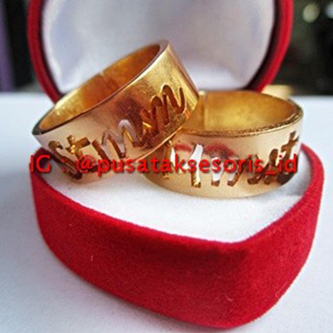 Jual Cincin Couple Nama Gold Lapis Emas 24 Karat Bisa cetak sesuai nama sendiri