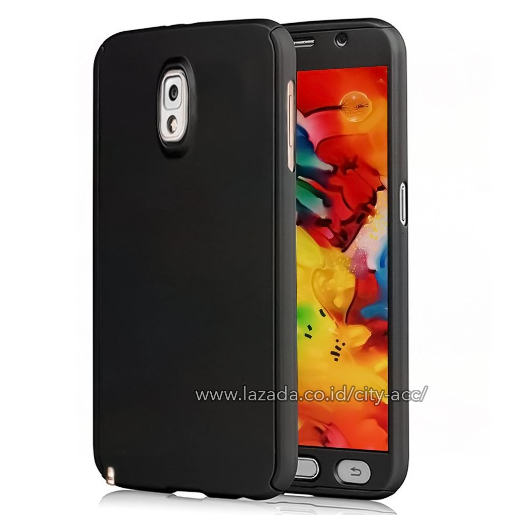 Case Front Back 360 Degree Full Protection for Samsung Galaxy Note 3 ( SM - N900 ) - Black + Tempered Glass