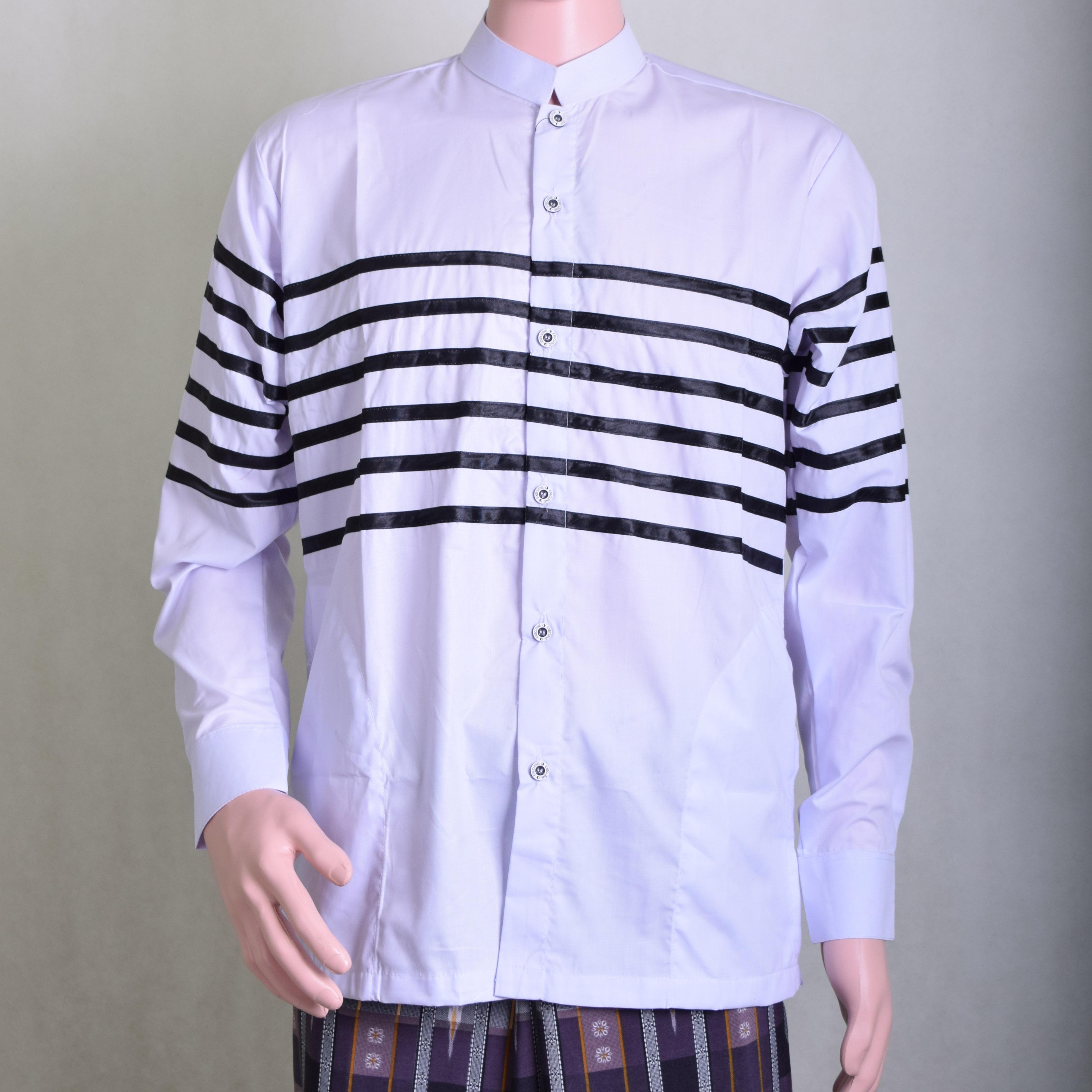Baju Koko Pria Putih Motif Garis Garis Hitam Keren dan Berwibawa 67275c0472