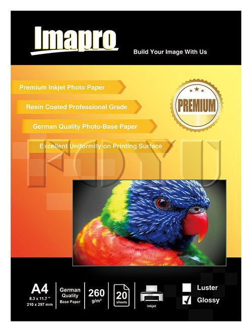 Kertas Foto Inkjet Imapro Professional RC Glossy Water Proof 260gsm A4