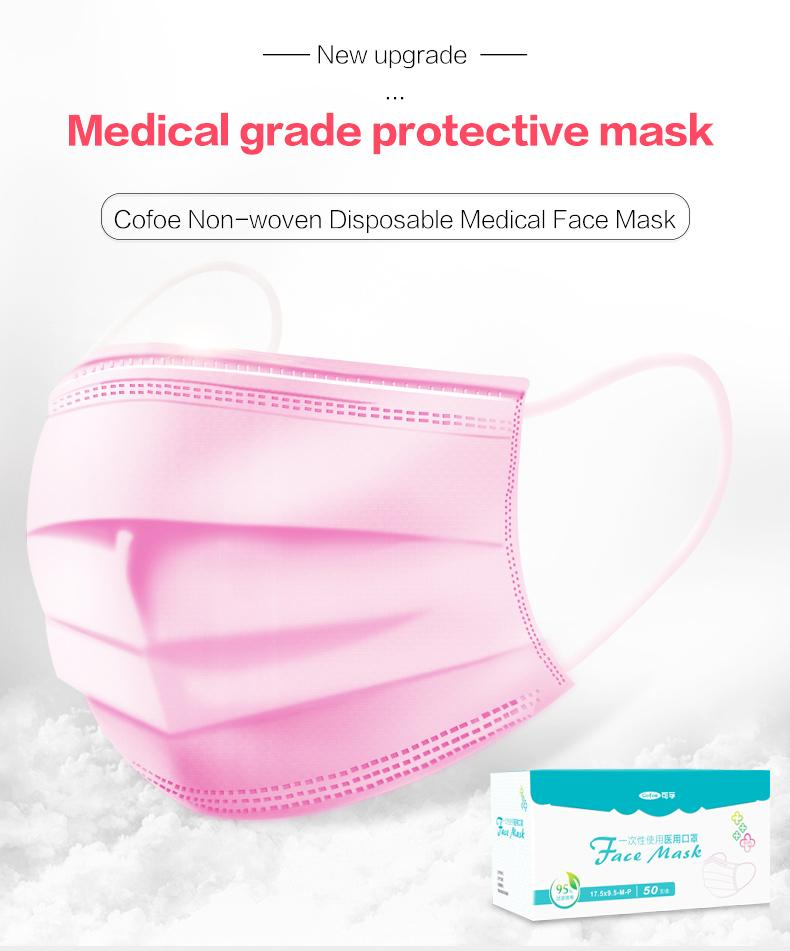 box Face Earloop Unisex Cofoe Mouth Medical Non-woven Masks With white Mask Surgical 50pcs Disposable Unisize