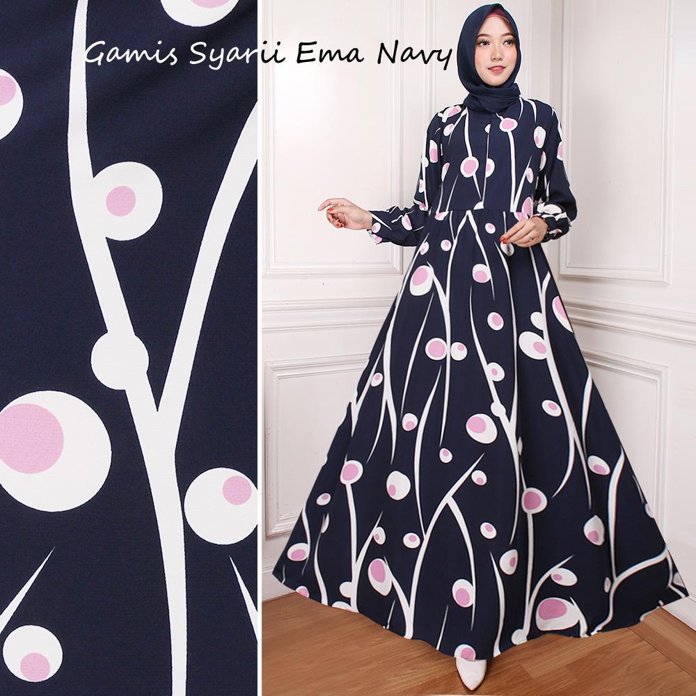 EMA GAMIS SYARII WANITA DRESS MUSLIM MAXI BAJU PRINTING