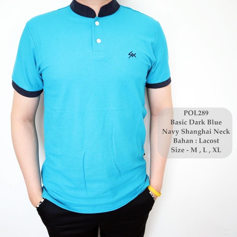 GFS 289 Polo Shirt Biru Kombinasi / Kaos Polo Pria / Baju Polo Sanghai Cowok /