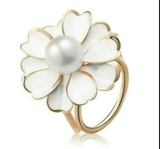 SALE - cincin / ring hiasan jilbab / syal / kerudung bunga manik putih