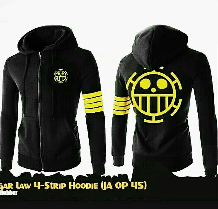 Jaket hoodie zipper anime one piece hitam