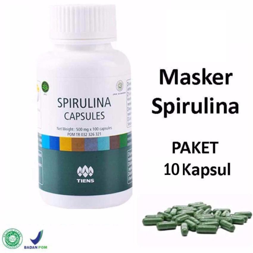 Tiens Masker Spirulina - Masker Wajah Herbal Alami - 10 Kapsul