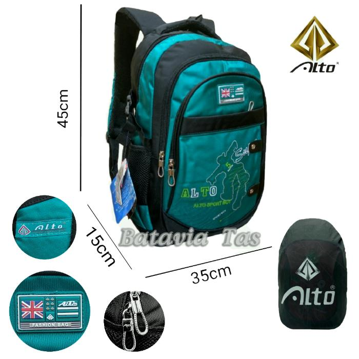Alto Tas Ransel Backpack Batavia Alto Fino Alla Fine Sekolah / Kuliah / Kerja Deep Blue + Waterproof Raincover