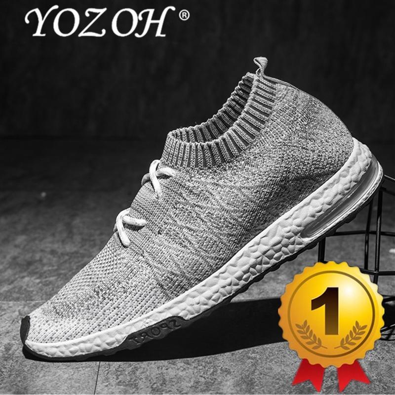 YOZOH Menjalankan Sepatu For Pria Mesh Bernapas Olahraga Sepatu Pria Tinggi  Meningkatkan Sneakers Pria English. Cahaya Sepatu Olahraga-abu-abu 402ed63a7b