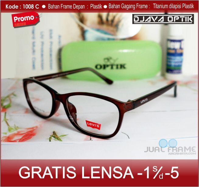 Frame kacamata minus Levis 1008 + lensa minus / plus / silinder untuk pria dan wanita