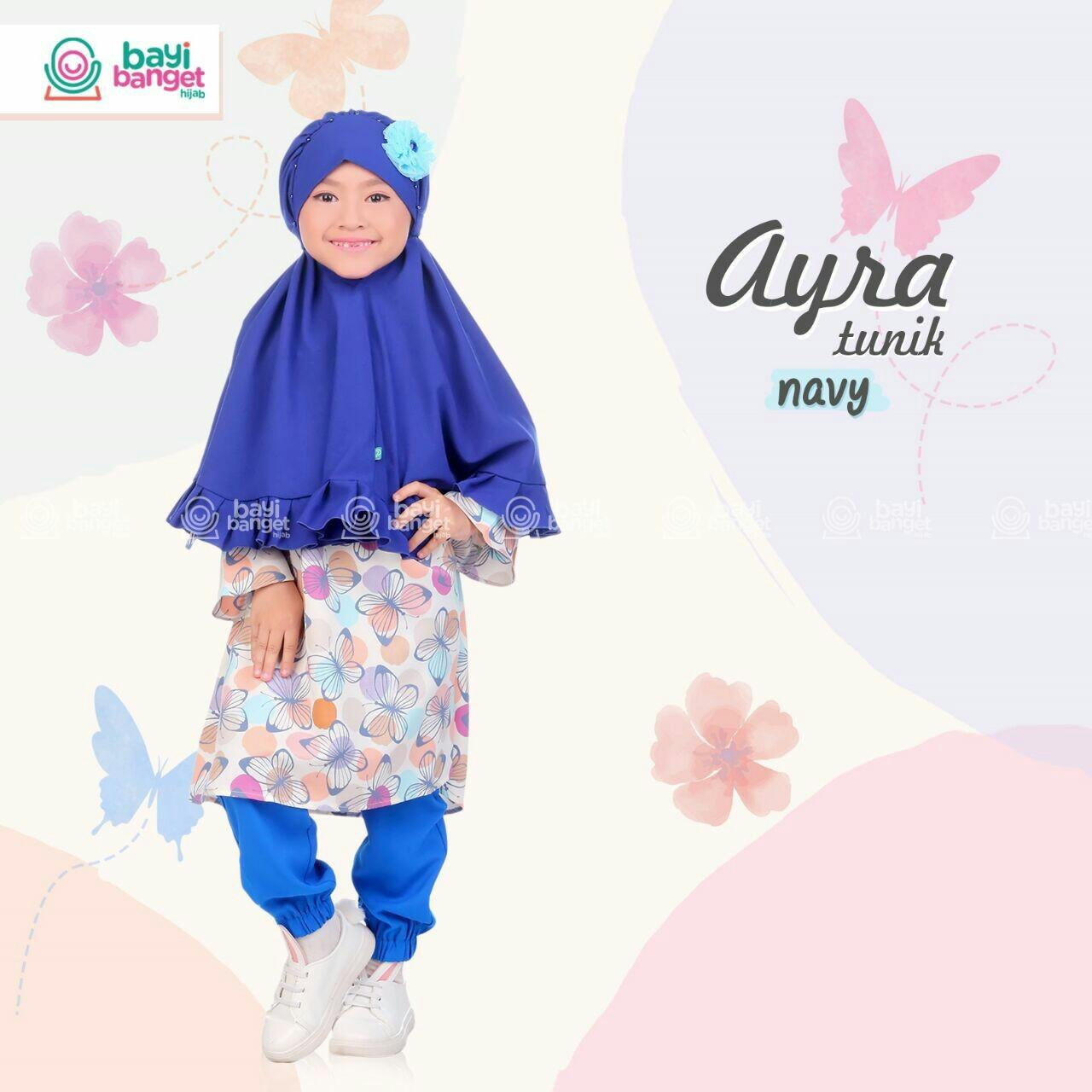 Fairuz Hijab, Baju Tunik Anak Perempeuan, Baju Muslim Anak setelan celana Joger, Busana Muslim Anak bermerk warna navy ( biru Dongker )