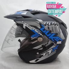 PROMO 11.11 Helmet Double Visor Dua Kaca Helem DUKE BIRU Helm dewasa SNI ( LAGI PROMO